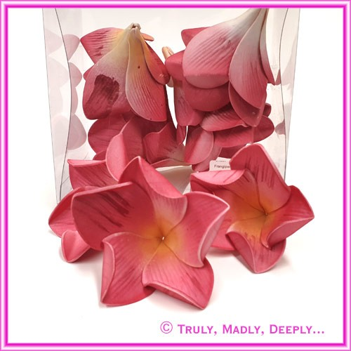 Artificial Flower Heads Latex Frangipani Dusty Pink Large - Box of 12