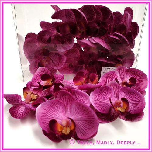Artificial Flower Heads Silk Phalaenopsis Orchid Lavender Purple 5cm - Box of 24