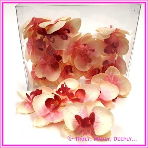 Artificial Flower Heads Silk Phalaenopsis Orchid Light Pink 5cm - Box of 24