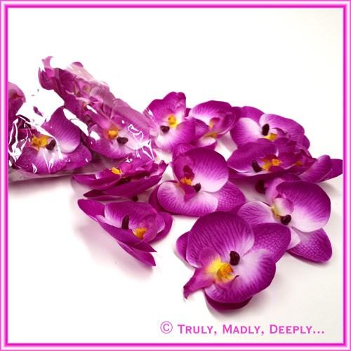 Artificial Flower Heads Silk Phalaenopsis Orchid Purple 5.5cm - 24Pck