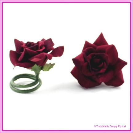 Artificial Flower Heads Velvet Rose Deep Red - Box of 9