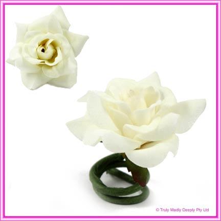 Artificial Flower Heads Velvet Rose White/Ivory - Box of 9