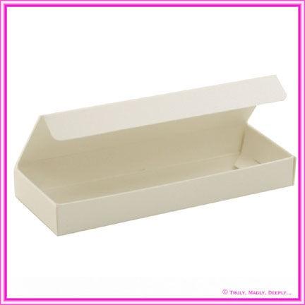 Bomboniere Box - 3 Chocolates - Metallic Pearl Bridal White