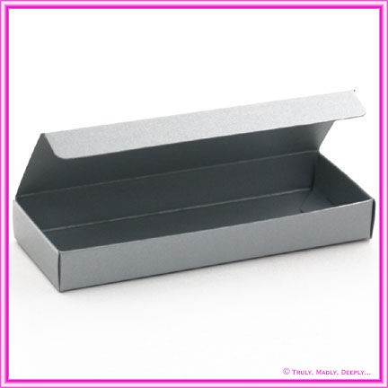 Bomboniere Box - 3 Chocolates - Metallic Pearl Silver