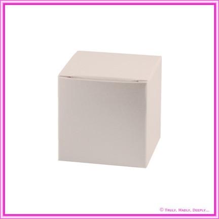 Bomboniere Box - 5cm Cube - Crystal Perle Sandstone (Metallic)