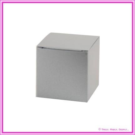 Bomboniere Box - 5cm Cube - Crystal Perle Steele Silver (Metallic)
