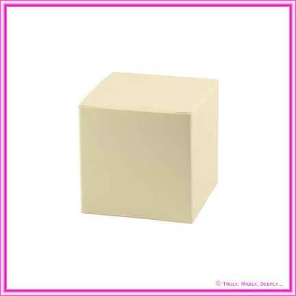 Bomboniere Box - 5cm Cube - Curious Metallics White Gold