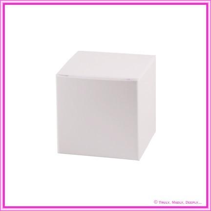 Bomboniere Box - 5cm Cube - Metallic Pearl White