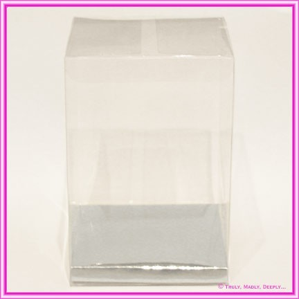Bomboniere Box 100x100x150mm Clear with Silver Base