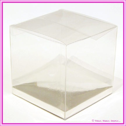 Bomboniere Box Clear Cube 100x100x100mm with Silver Base