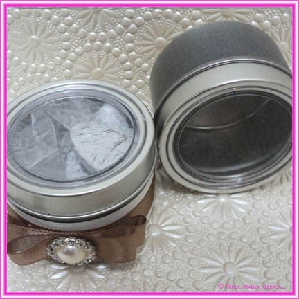 Bomboniere Box - Silver Tin with Clear Lid