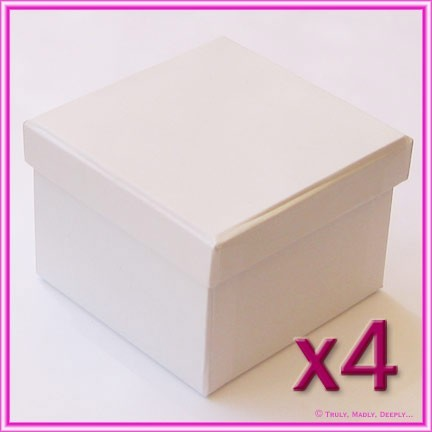 Bomboniere Boxes White 78x78x56mm - Pack of 4