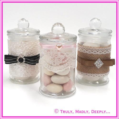 Glass Lollie Jars - 150ml - Ideal for Wedding / Christening Bomboniere / Favor