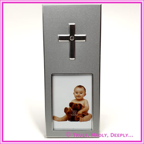 Christening Bomboniere - Frame Cross Silver with Diamante