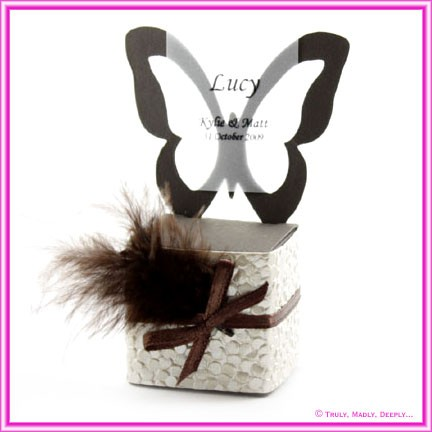 Bomboniere Butterfly Chair Box - Urban Brown (Matte)