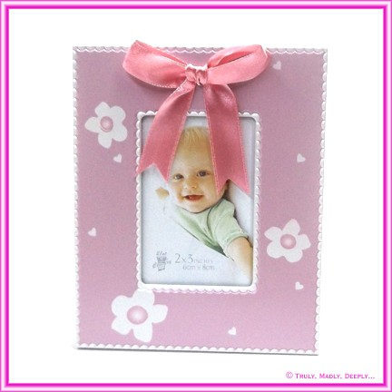 Christening Bomboniere - Frame Flowers Pink with Bow