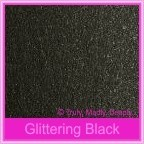 Crystal Perle Glittering Black 300gsm Metallic Card Stock - A4 Sheets