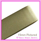 Double Sided Satin Ribbon 15mm - Autmumn Green - 25Mtr Roll