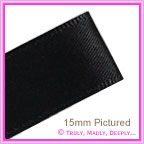 Double Sided Satin Ribbon 15mm - Black - 25Mtr Roll