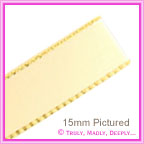 Double Sided Satin Ribbon 15mm - Cream with Gold Edge - 25Mtr Roll