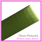 Double Sided Satin Ribbon 15mm - Fern Green - 25Mtr Roll