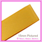 Double Sided Satin Ribbon 15mm - Gold - 25Mtr Roll