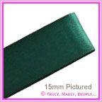 Double Sided Satin Ribbon 15mm - Hunter Green - 25Mtr Roll