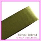 Double Sided Satin Ribbon 15mm - Olive - 25Mtr Roll