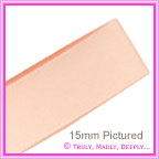 Double Sided Satin Ribbon 15mm - Pastel Peach - 25Mtr Roll