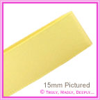 Double Sided Satin Ribbon 15mm - Pastel Yellow - 25Mtr Roll