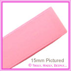 Double Sided Satin Ribbon 15mm - Pink - 25Mtr Roll