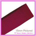 Double Sided Satin Ribbon 15mm - Rich Magenta - 25Mtr Roll