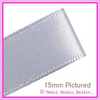Double Sided Satin Ribbon 25mm - Silver - 25Mtr Roll