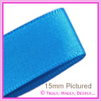 Double Sided Satin Ribbon 15mm - Turquoise - 25Mtr Roll