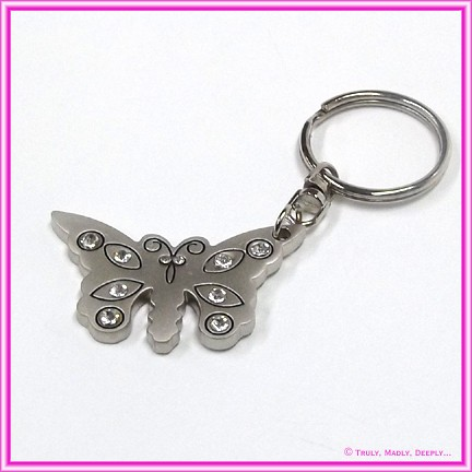 Favor / Bomboniere - Keyring Butterfly Diamantes