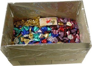 Foil Wrapped Chocolate Hearts - Mixed All Colours - 5kg (approx 620)