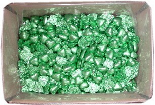 Foil Wrapped Chocolate Hearts - Lime Green - 5kg (approx 620)