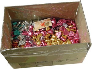 Foil Wrapped Chocolate Hearts - Mixed Pastels - 5kg (approx 620)