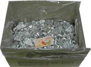Foil Wrapped Chocolate Hearts - Silver - 5kg (approx 620)