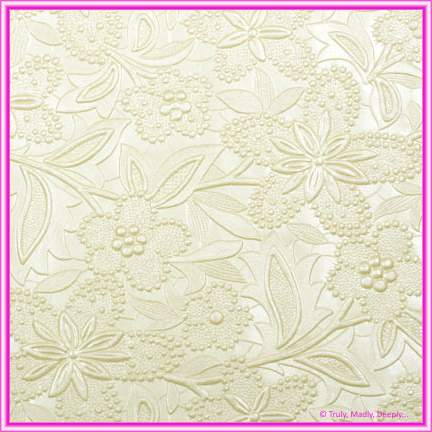 A4 Embossed Invitation Paper - Spring / Bloom Ivory Pearl
