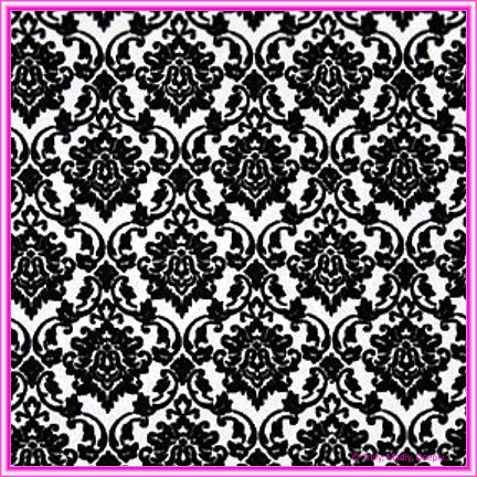 A4 Flocked Invitation Paper - Damask Black