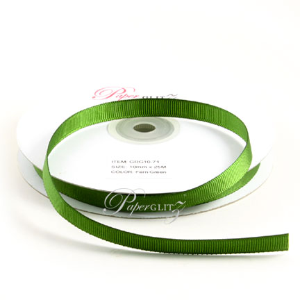 10mm Gros Grain Ribbon - Double Sided 25Mtr Roll - Fern Green