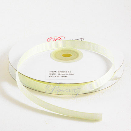 10mm Gros Grain Ribbon - Double Sided 25Mtr Roll - Ivory