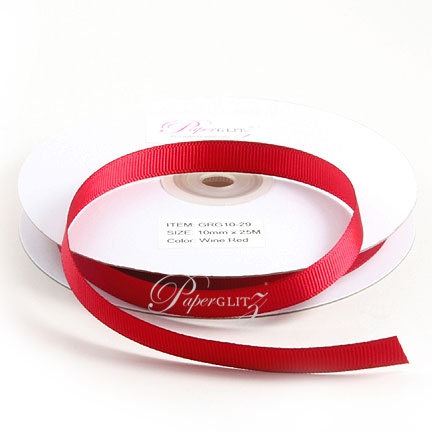 10mm Gros Grain Ribbon - Double Sided 25Mtr Roll - Wine Red
