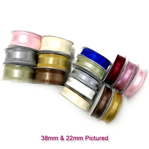 38mm Satin Centred Organza Ribbon - Various Colours