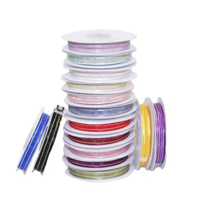 10mm Satin Edged Organza Ribbon with Gold Thread - Various Colours