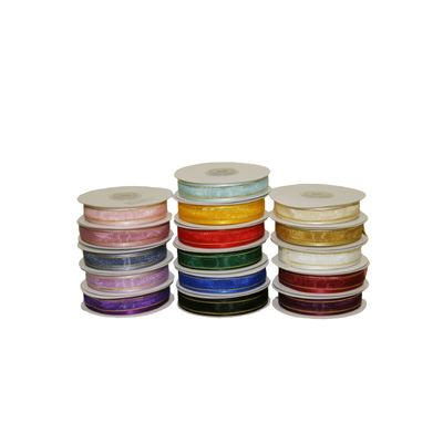 15mm Satin Edged Organza Ribbon with Gold Thread - Various Colours