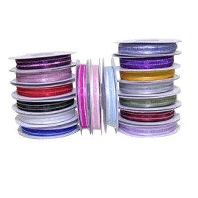 10mm Satin Edged Organza Ribbon with Silver Thread - Various Colours