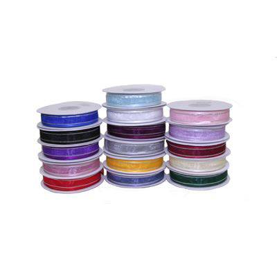 15mm Satin Edged Organza Ribbon with Silver Thread - Various Colours