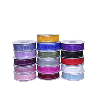 22mm Satin Edged Organza Ribbon with Silver Thread - Various Colours